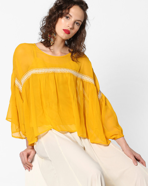 Flared Top With Embroidery By AJIO ( Yellow )