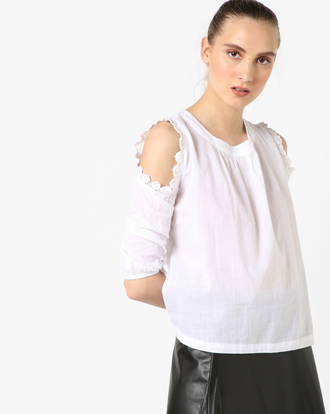 Cold-Shoulder Top With Lace Insets By AJIO ( White )