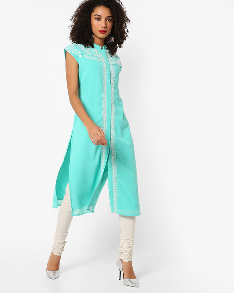 Open-Front Kurta With Chikankari Embroidery By AJIO ( Aqua )