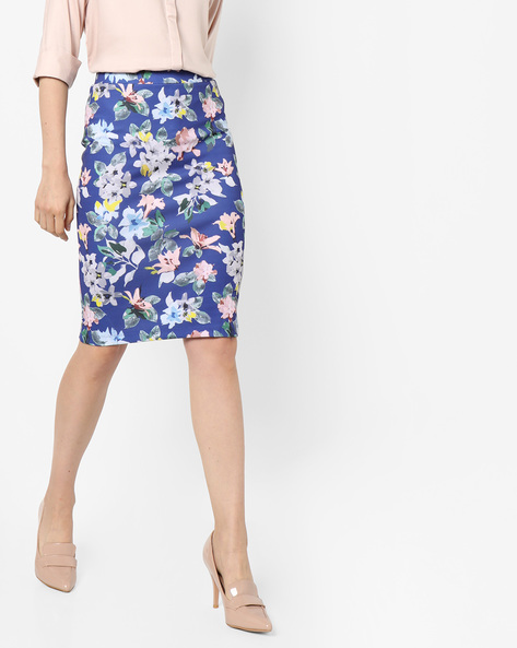 Floral Print Knee-Length Skirt By Project Eve WW Athleisure ( Blue )