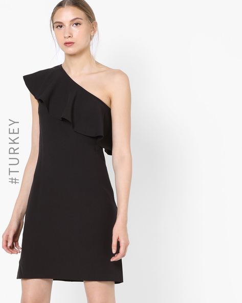 One-Shoulder Dress With Ruffles By TRENDYOL ( Black )