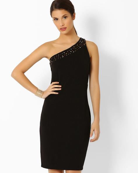 One-Shoulder Sheath Dress By AJIO ( Black )
