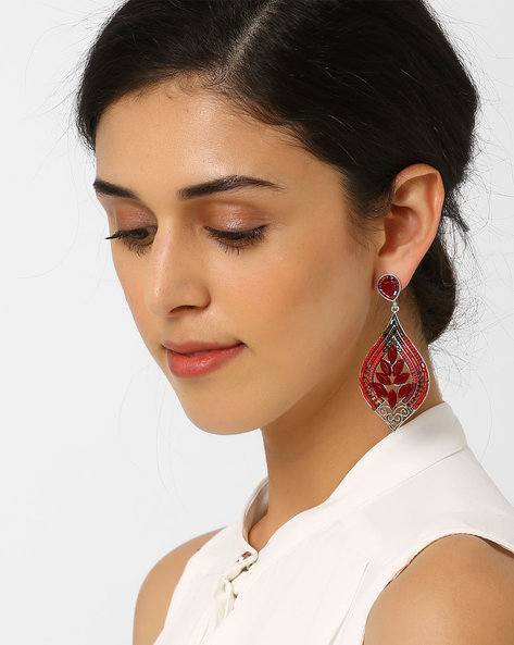 Stone-Studded Dangler Earrings By AJIO ( Red )