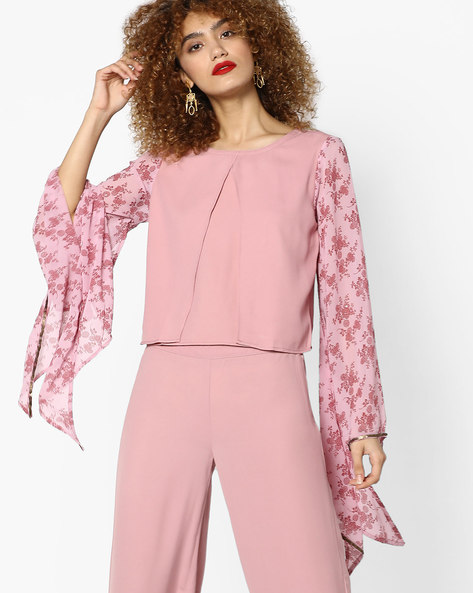 Panelled Top With Flared Sleeves By AJIO ( Peach )