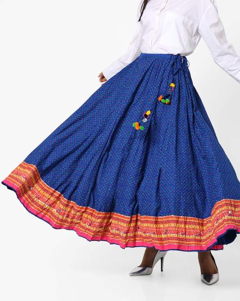 Printed A-Line Skirt With Embellished Tie-Up By Biba ( Blue )