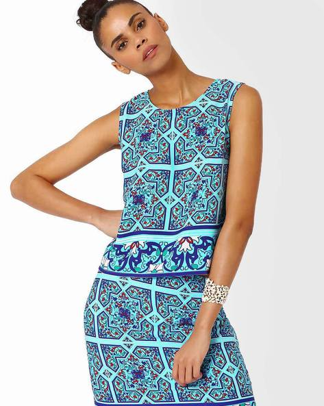 Printed Sleeveless Top By AJIO ( Blue )