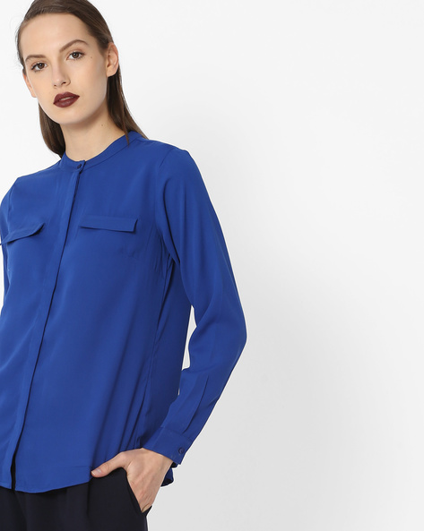 Top With Concealed Button Placket By Project Eve WW Work ( Blue )