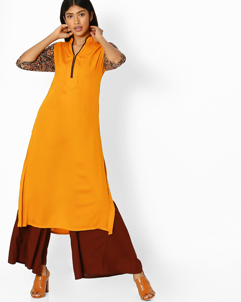 Straight Kurta With Printed Sleeves By Desi Weaves ( Yellow )