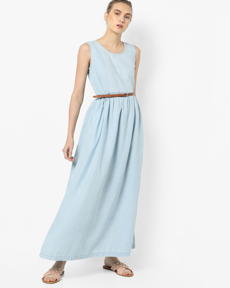 Embroidered A-line Maxi Dress With Belt By Project Eve WW Denim ( Ltblue )