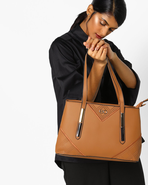 Textured Satchel Bag By E2O ( Khaki )