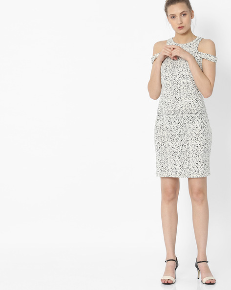 Printed Cold-Shoulder Sheath Dress By ANONYMOUS CO ( Offwhite )