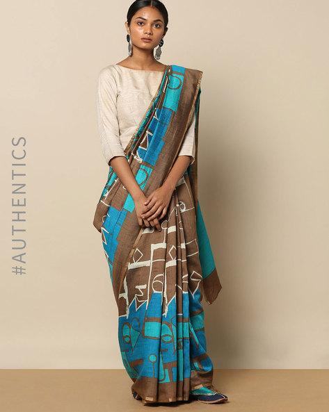 Pure Silk Tussar Abstract Print Designer Saree By Rudrakaashe-MSU ( Multi ) - 460153775001