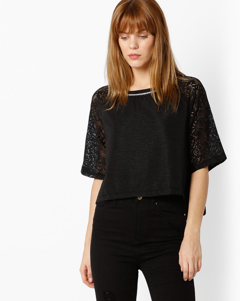 Crop Top With Lace Sleeves By FIG ( Black )