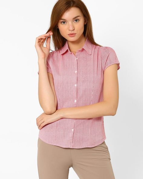 Shirt With Houndstooth Print By FIG ( Red )