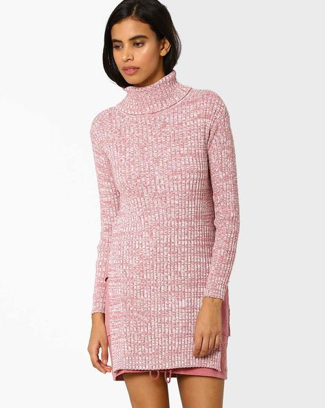 High-Neck Knitted Sweater By AJIO ( Pink )