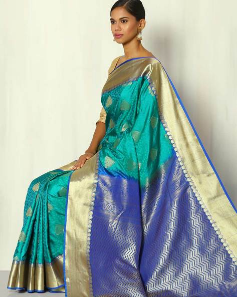 Kimkhab Tissue Border Buti South Silk Saree By BANASURI ( Green )