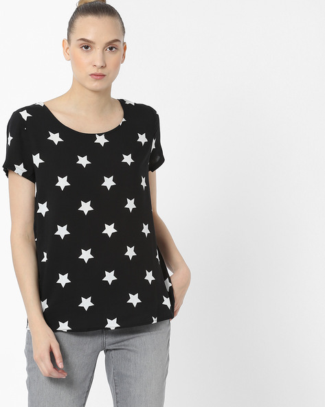 Round-Neck Top With Star Print By Only ( Blackmelange )