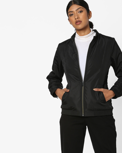 Bomber Jacket With Insert Pockets By Fort Collins ( Clearblack )