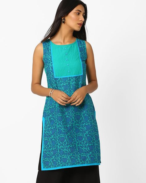 Floral Print Sleeveless Kurta By AJIO ( Teal )
