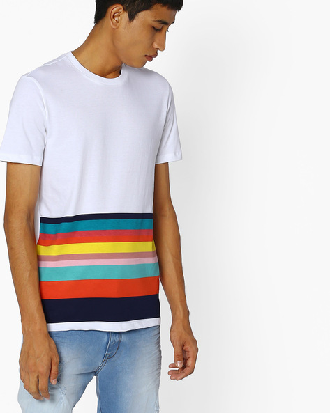 Striped Crew-Neck T-shirt By UNITED COLORS OF BENETTON ( Assorted )