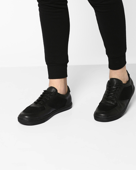Lace-Up Sneakers With Mesh Panel By TURN ( Black )
