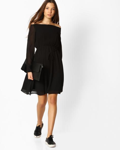 Off-Shoulder Fit & Flare Dress By Femella ( Black )