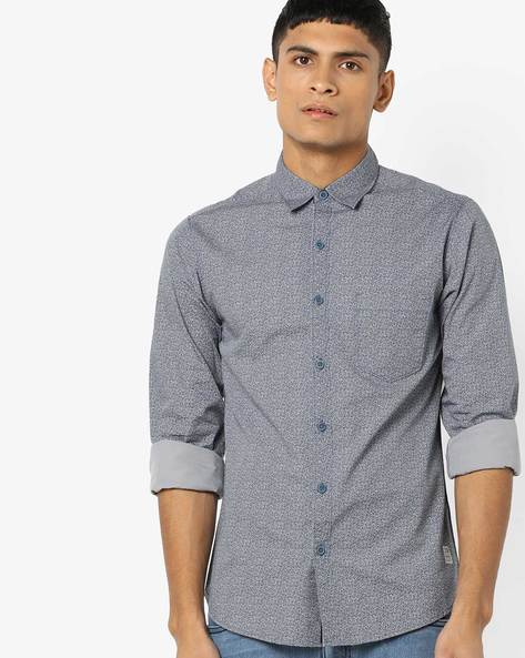 Ditsy Print Slim Fit Shirt By SPYKAR ( Grey )