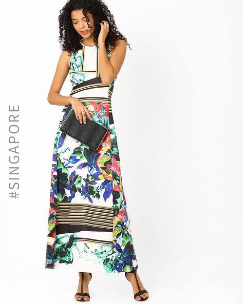 Printed Maxi Dress By MDS ( Multi )