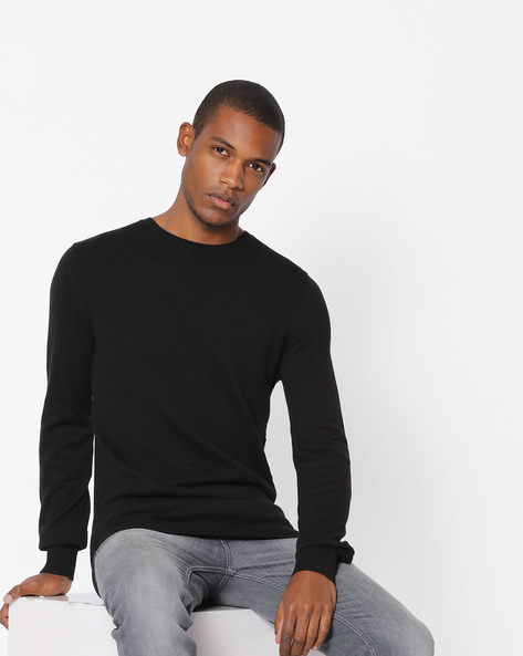 Textured Crew-Neck Pullover With Ribbed Hems By Celio ( Black )