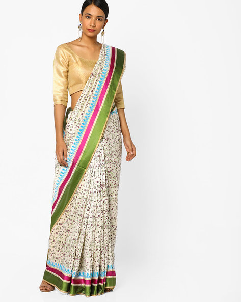 Floral Print Saree With Contrast Border By Era ( Offwhite )