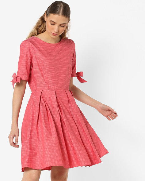 Printed Skater Dress With Tie-Ups By AJIO ( Red )
