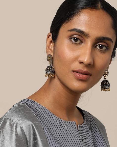 Oxidised Dual Toned German Silver Peacock Jhumkas By Rubans ( Silver )