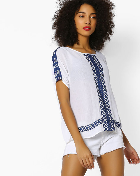 Boxy Top With Printed Panels By FIG ( Offwhite )