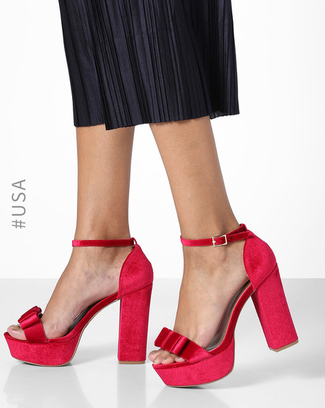 Strappy Slingback Block-Heeled Sandals By QUPID ( Red )