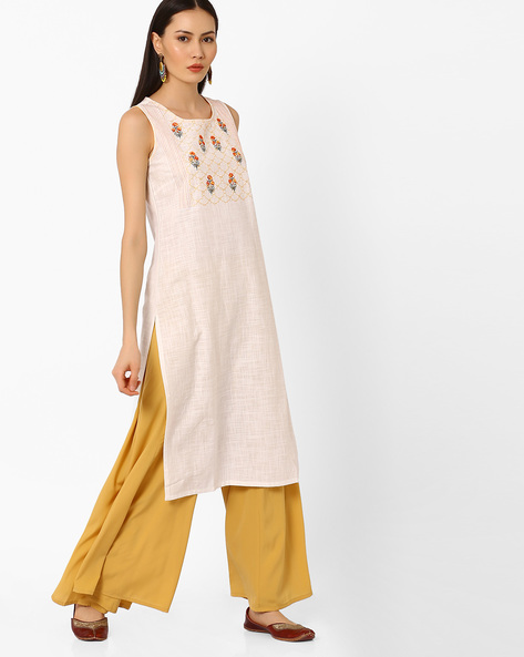 Printed Sleeveless Cotton Kurta By AURELIA ( White )