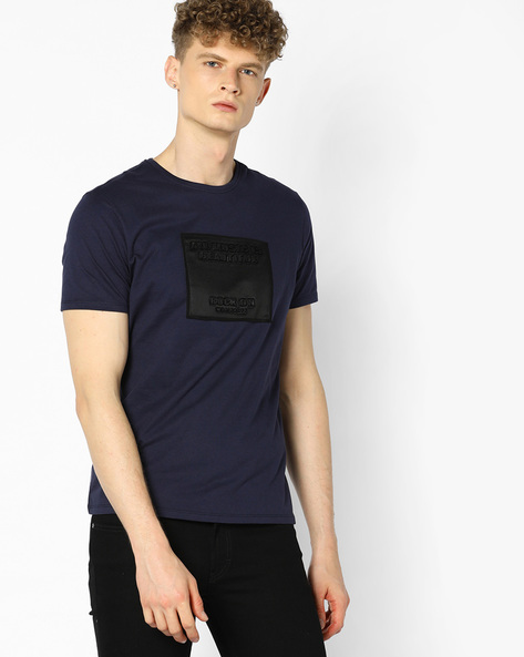 Crew-Neck T-shirt With Applique By AJIO ( Navy )