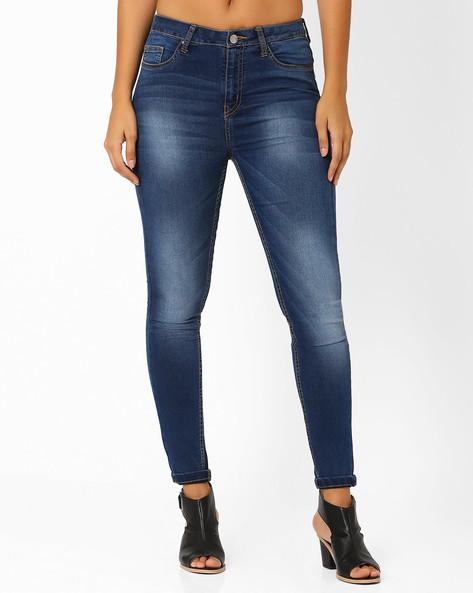 Lightly Washed Skinny Jeans By AJIO ( Blue )