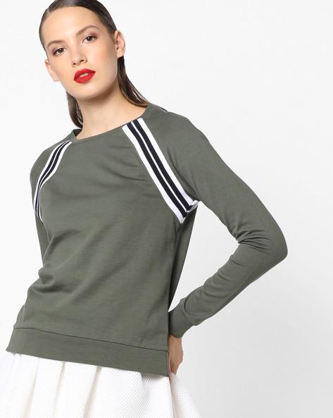 Sweatshirt With Raglan Sleeves By AJIO ( Olive )