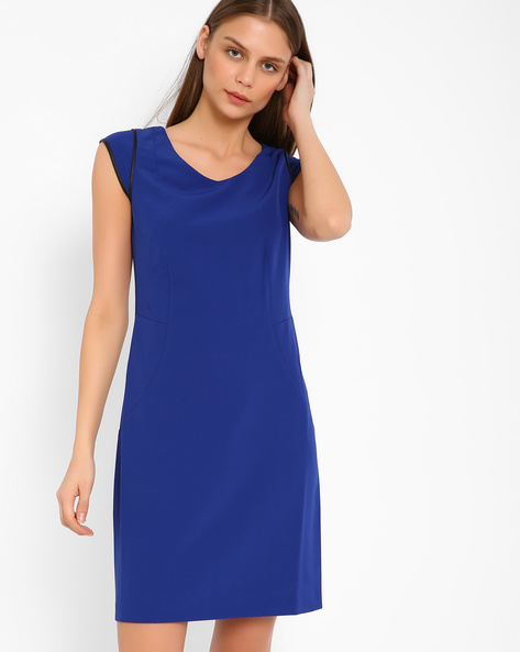 Tailored Dress With PU Panels By AJIO ( Blue )