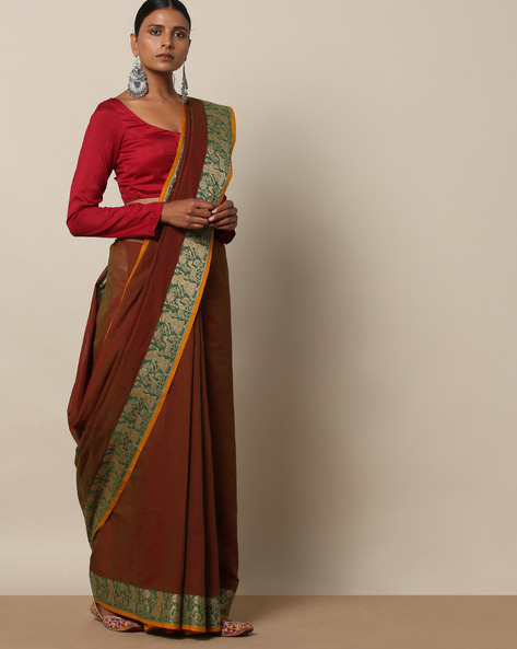 Kanchi Cotton Saree With Woven Border By Indie Picks ( Brown ) - 460164748001