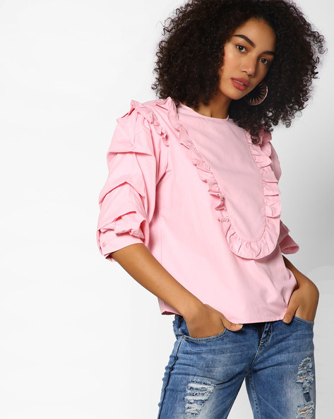 Cotton Top With Layered Sleeves By AJIO ( Pink )