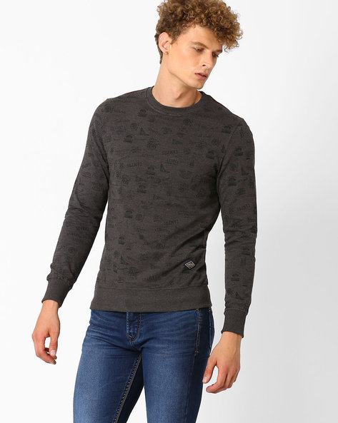 Printed Round Neck Regular Fit Sweatshirt By TEAM SPIRIT ( Charcoal )