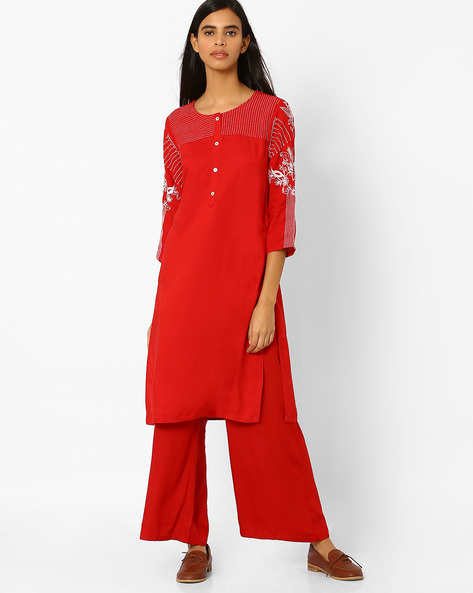 Straight Kurta With Button Placket By Rangmanch By Pantaloons ( Red )