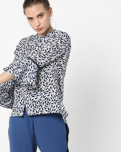 Printed Shirt With Mandarin Collar By Femella ( White )