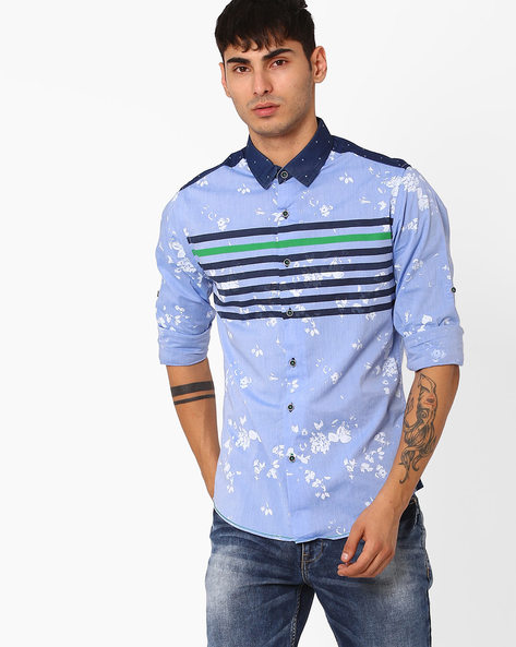 Floral Print Slim Fit Shirt By The Indian Garage Co ( Blue )