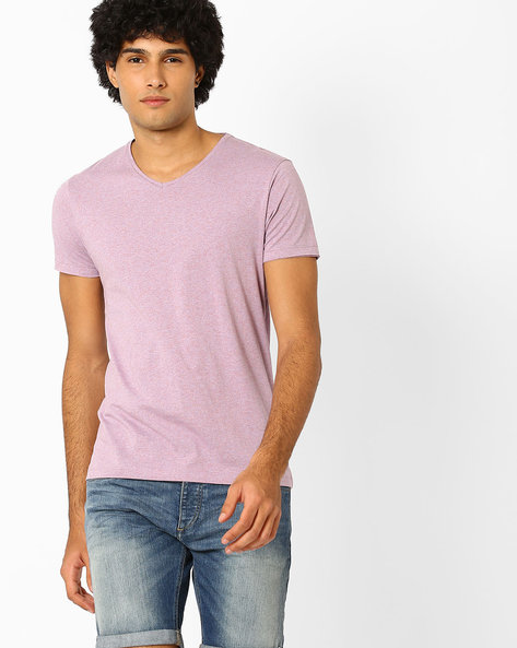 V-neck Slim Fit T-shirt By Jack & Jones ( Lavender )