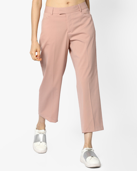 Ankle-Length Flat-Front Trousers By CODE By Lifestyle ( Pink )