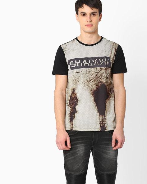 Graphic Print Slim T-shirt By AJIO ( Black )