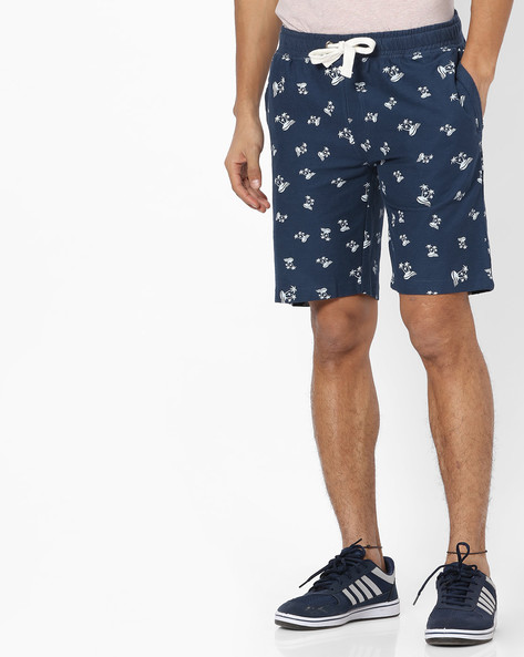 Printed Shorts With Drawstring Waist By Teamspirit ( Blue )