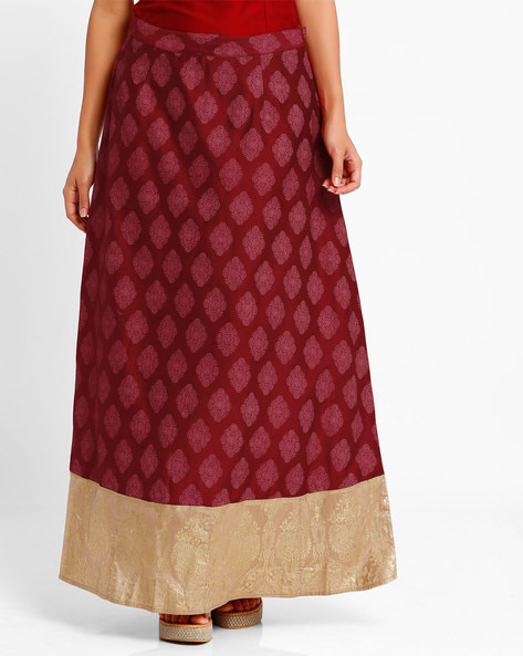 Printed Maxi Skirt By AJIO ( Maroon )